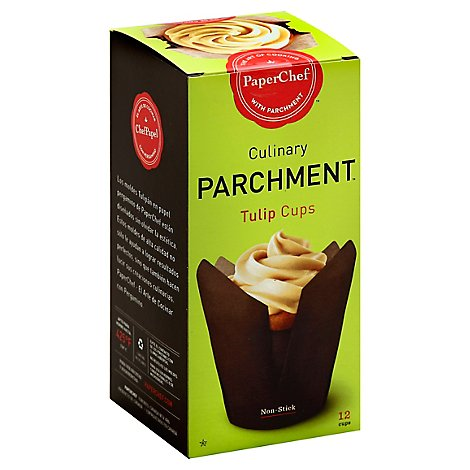 PaperChef Parchment Culinary Cups Non-Stick Tulips - 12 Count