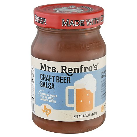 Mrs. Renfros Gourmet Salsa Medium Hot Texas Red Craft Beer Jar - 16 Oz
