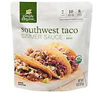 Simply Organic Simmer Sauce for Beef Southwest Taco Pouch - 8 Oz