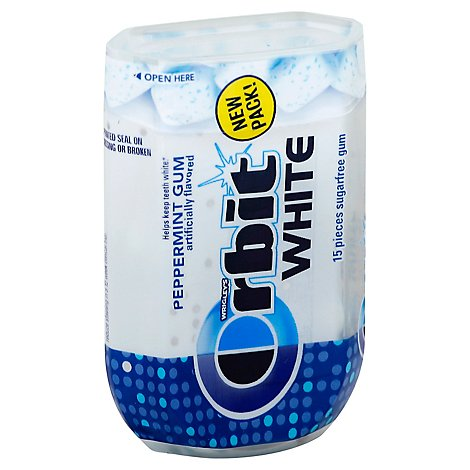 Orbit White Sugar Free Chewing Gum Peppermint - 15 Count