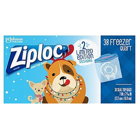 Ziploc Seal Top Bags Freezer Quart Holiday - 38 Count