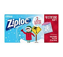 Ziploc Seal Top Bags Holiday Limited Edition Quart Storage 7x7 Inch - 48 Count