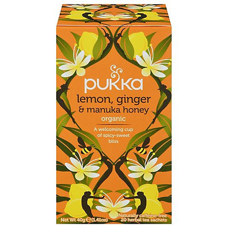 Pukka Herbal Tea Organic Lemon Ginger & Manuka Honey - 20 Count