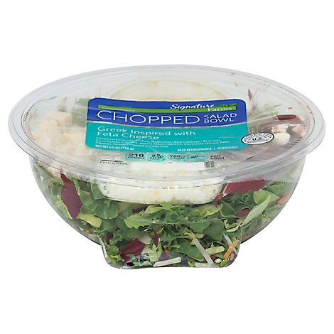 Signature Farms Salad Bowl Greek Inspired With Feta Cheese Chopped - 5.5 Oz