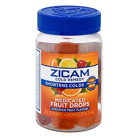 Zicam Cold Remedy Medicated Fruit Drops Assorted Fruit Flavor - 25 Count