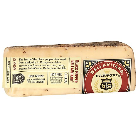 Sartori Black Pepper Bellavitano Cheese Wedge - 5.3 Oz.