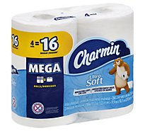 Charmin Bathroom Tissue Ultra Soft Mega Roll 2-Ply Wrapper - 4 Roll