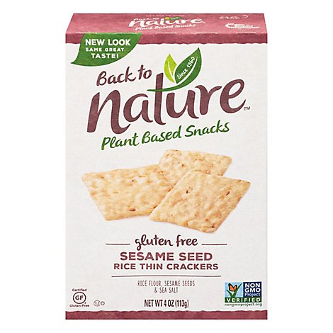 back to NATURE Crackers Rice Thin Gluten Free Sesame Seed - 4 Oz