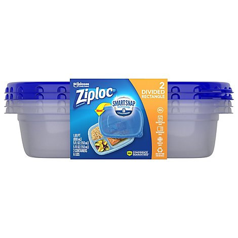 Ziploc Container Divided Rectangle Smart Snap - 2 Count