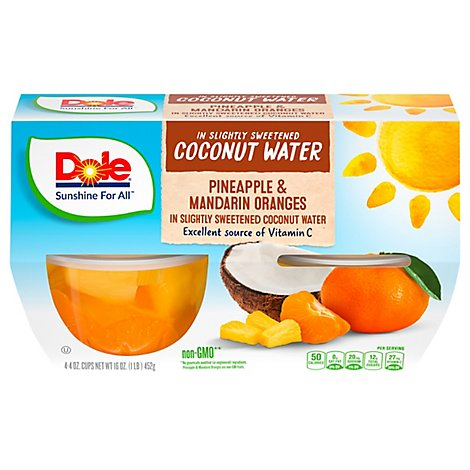 Dole Pineapple & Mandarin Orange in Coconut Water Cups - 4-4 Oz