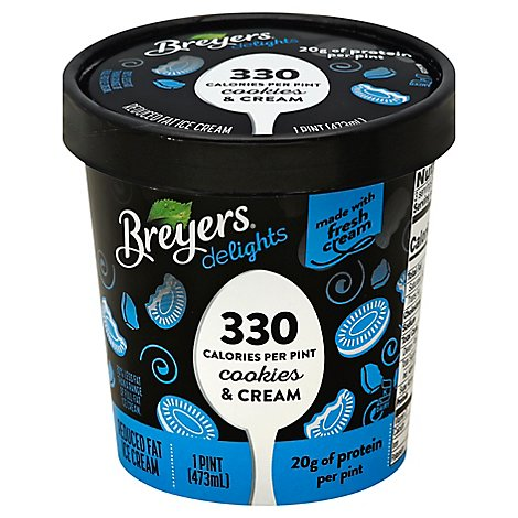 Breyers Delights Ice Cream Reduced Fat Cookies and Cream - 16 Oz
