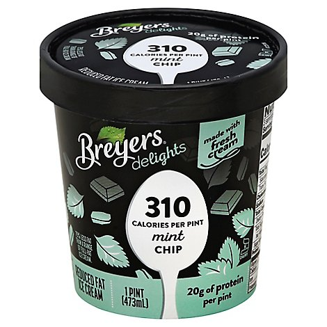 Breyers Delights Ice Cream Reduced Fat Mint Chip - 16 Oz