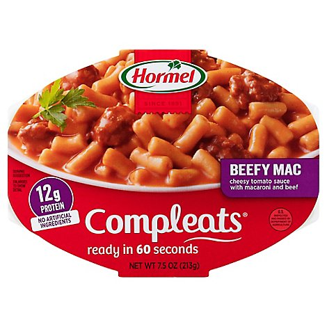 Hormel Compleats Microwave Meals Comfort Classics Beefy Mac & Cheese - 7.5 Oz