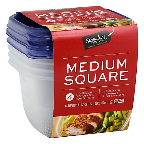 Signature SELECT Containers Storage Tight Seal BPA Free Medium Square - 4 Count