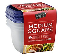Signature SELECT/Home Containers Storage Medium Square Tight Seal BPA Free - 4 Count