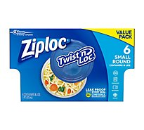 Ziploc Twist N Loc Containers & Lids Small Round White Value Pack - 6 Count