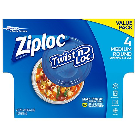 Ziploc Twist N Loc Containers & Lids Medium Round Value Pack - 4 Count