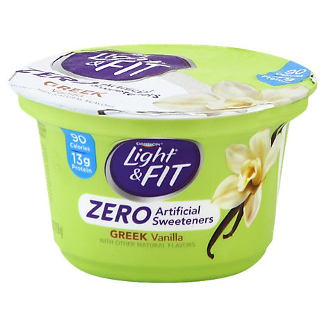 Dannon Light & Fit Yogurt Greek Nonfat Zero Artificial Sweeteners Vanilla - 5.3 Oz