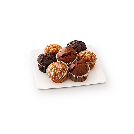 Fresh Baked Blueberry Chocolate Bran Assorted Muffins - 7 Count