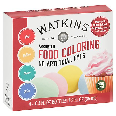 Jr Watkins Food Coloring Asstd 4 Pk - 1.2 Fl. Oz.