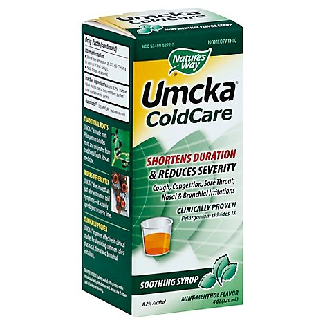 Natures Way Umcka ColdCare Soothing Syrup Mint-Menthol Flavor - 4 Oz
