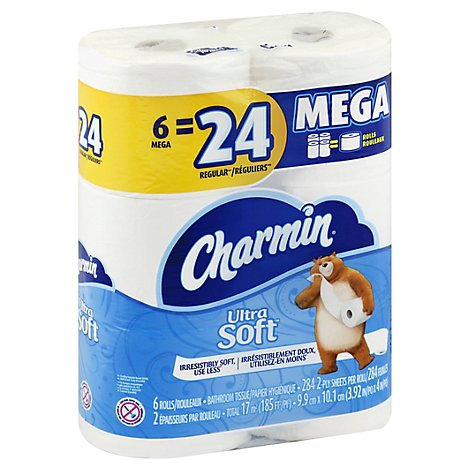 Charmin Ultra Soft Bathroom Tissue Mega Rolls 2 Ply - 6 Roll