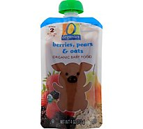 O Organics Organic Baby Food Stage 2 Berries Pear & Oats - 4 Oz