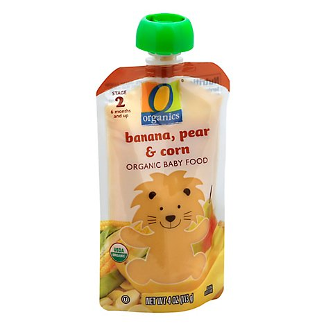O Organics Organic Baby Food Stage 2 Banana Pear & Corn - 4 Oz