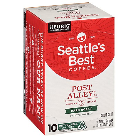 Seattles Best Coffee Ground K Cup Pods Dark Roast Post Alley Blend 10 Count - 3.5 Oz
