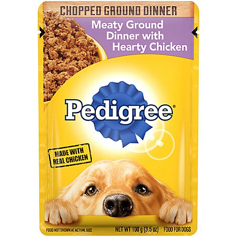 Pedigree Dog Food Wet Adult Chopped Ground Dinner Meaty With Hearty Chicken - 3.5 Oz