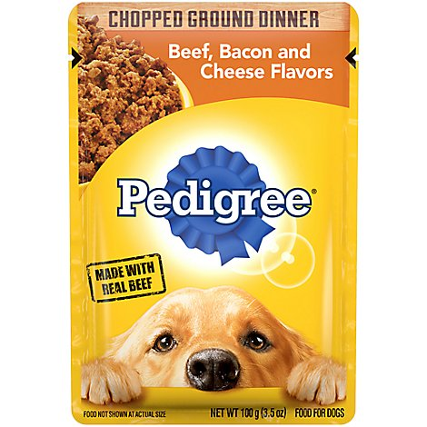 PEDIGREE Dog Food Chopped Ground Dinner Beef Bacon & Cheese Flavors Pouch - 3.5 Oz