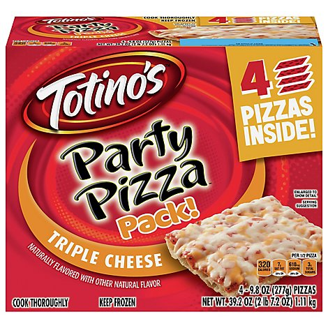 Totinos Pizza 4 Pack Triple Cheese Party Frozen - 39.2 Oz