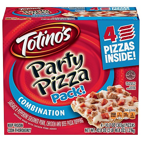 Totinos Pizza 4 Pack Combination Party Frozen - 42.8 Oz