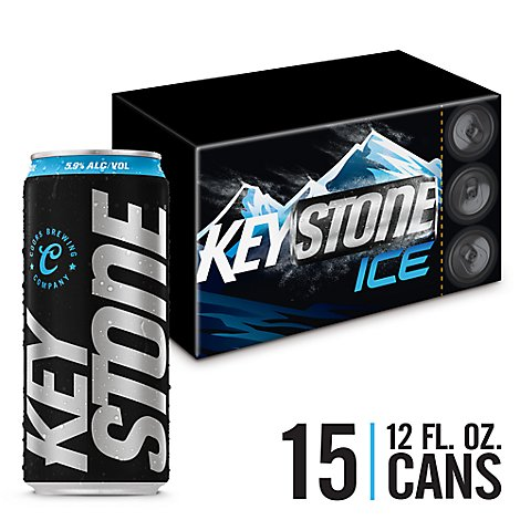 Keystone Ice Lager Beer Cans 5.9% ABV - 15-12 Fl. Oz.