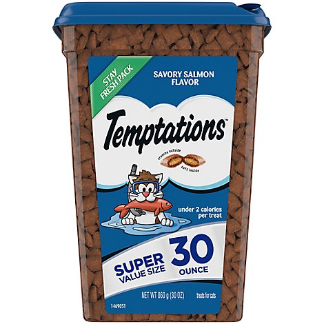 Temptations Treats for Cat Savory Salmon Flavor Tub - 30 Oz