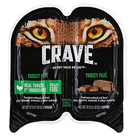 CRAVE Cat Food Adult Wet Grain Free High Protein Turkey Pate Twin Pack Tray - 2.6 Oz