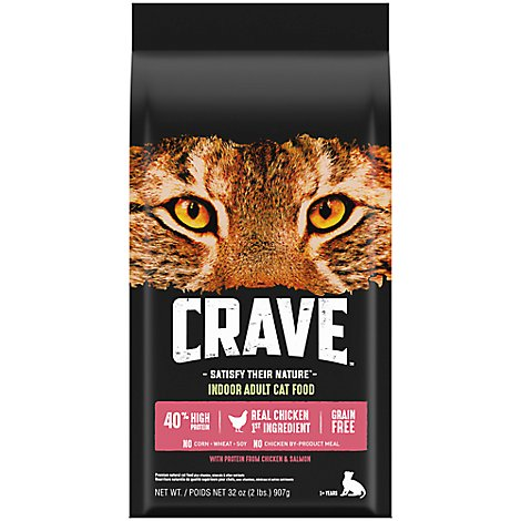 CRAVE Cat Food Dry Adult Grain Free High Protein Chicken & Salmon Bag - 2 Lb