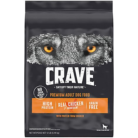 CRAVE Dog Food Adult Dry Grain Free High Protein Chicken - 12 Lb
