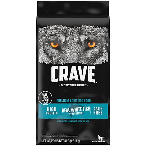 CRAVE Dog Food Dry Adult Grain Free Salmon & Ocean Fish Protein - 4 Lb