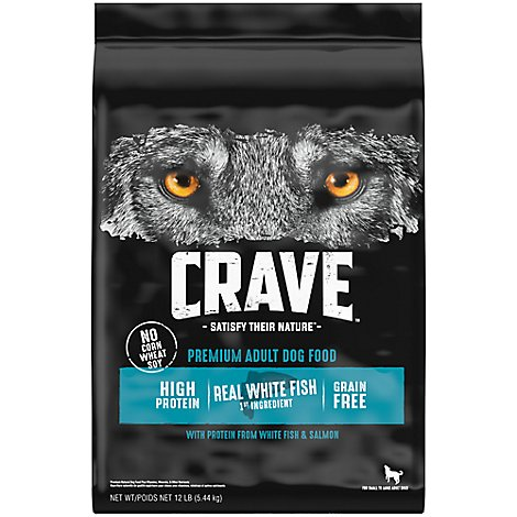 CRAVE Dog Food Dry Adult Grain Free Salmon & Ocean Fish Protein - 12 Lb