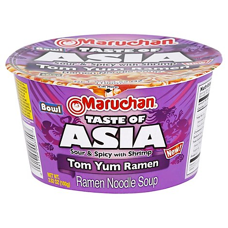 Maruchan Taste of Asia Ramen Noodle Soup Tom Yum Sour & Spicy with Shrimp - 3.38 Oz
