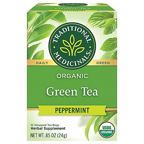 Traditional Medicinals Herbal Tea Organic Green Tea Peppermint Tea Bags - 16 Count