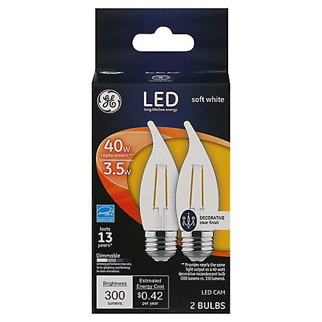 GE Led 4 W Bnt Tp Mdbs - 2 Count