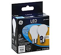 GE Light Bulb LED Soft White Ceiling Fan Frosted Finish 40 Watts A15 - 2 Count