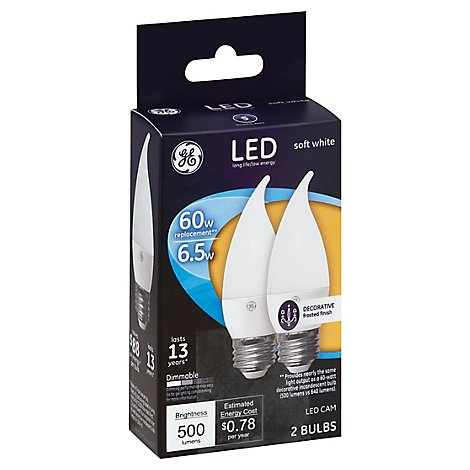GE Led 7w Bnt Tp Wht - 2 Count