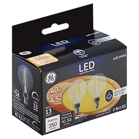 GE Led 4w G16.5 Clr - 2 Count