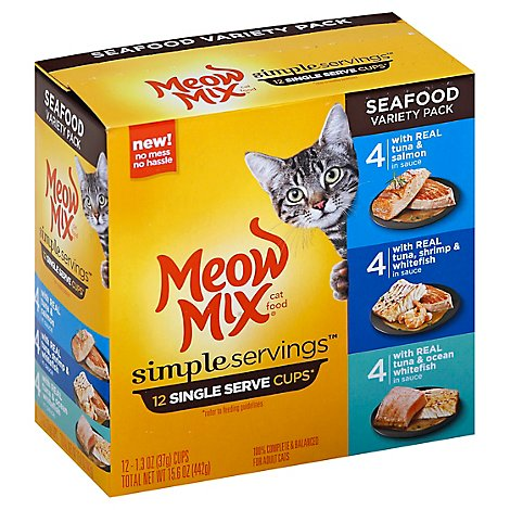 Meow Mix Simple Servings Cups Seafood Variety Pack Box - 12-1.3 Oz