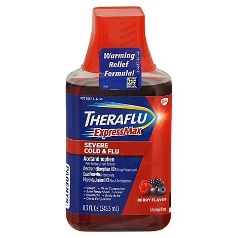 Theraflu ExpressMax Severe Cold & Flu Liquid Berry Flavor - 8.3 Fl. Oz.