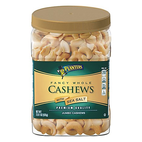 Planters Cashews Jumbo Fancy Whole Premium Quality With Sea Salt Jar - 33 Oz