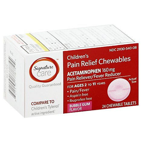 Signature Care Pain Relief Chewable Tablet Childrens Acetaminophen 160mg - 24 Count